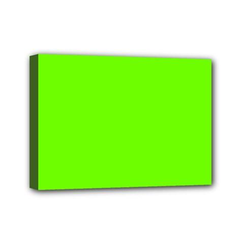 Super Bright Fluorescent Green Neon Mini Canvas 7  x 5