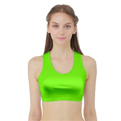 Super Bright Fluorescent Green Neon Sports Bra with Border