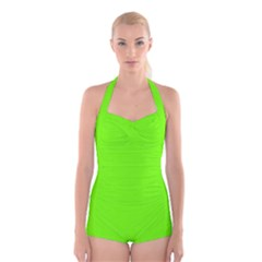 Super Bright Fluorescent Green Neon Boyleg Halter Swimsuit