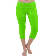 Super Bright Fluorescent Green Neon Capri Yoga Leggings