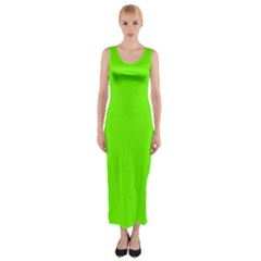Super Bright Fluorescent Green Neon Fitted Maxi Dress