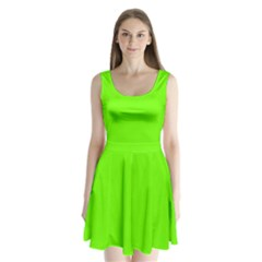 Super Bright Fluorescent Green Neon Split Back Mini Dress