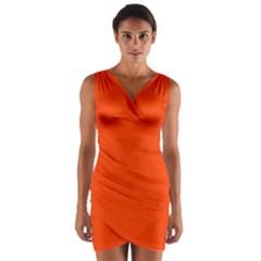 Bright Fluorescent Attack Orange Neon Wrap Front Bodycon Dress
