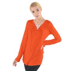 Bright Fluorescent Attack Orange Neon Women s Tie Up Tee