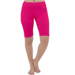 Super Bright Fluorescent Pink Neon Cropped Leggings