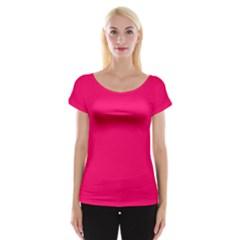 Super Bright Fluorescent Pink Neon Women s Cap Sleeve Top