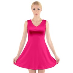 Super Bright Fluorescent Pink Neon V-Neck Sleeveless Skater Dress