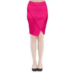 Super Bright Fluorescent Pink Neon Midi Wrap Pencil Skirt