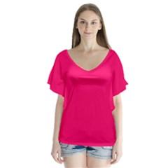 Super Bright Fluorescent Pink Neon Flutter Sleeve Top