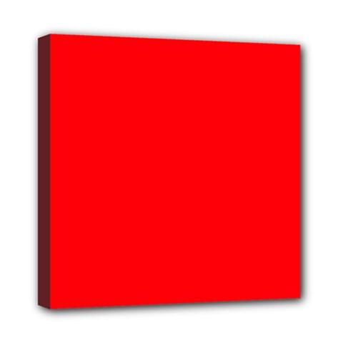 Bright Fluorescent Fire Ball Red Neon Mini Canvas 8  x 8