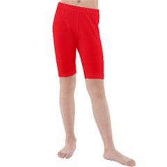 Bright Fluorescent Fire Ball Red Neon Kids  Mid Length Swim Shorts