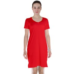 Bright Fluorescent Fire Ball Red Neon Short Sleeve Nightdress
