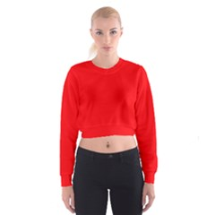 Bright Fluorescent Fire Ball Red Neon Cropped Sweatshirt