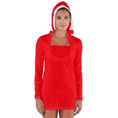 Bright Fluorescent Fire Ball Red Neon Women s Long Sleeve Hooded T-shirt
