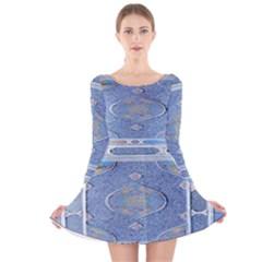 wisdomdesign1 Long Sleeve Velvet Skater Dress