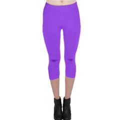 Bright Fluorescent Day glo Purple Neon Capri Leggings