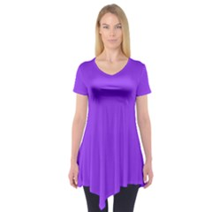 Bright Fluorescent Day glo Purple Neon Short Sleeve Tunic