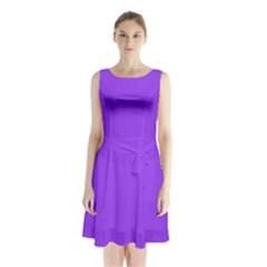Bright Fluorescent Day glo Purple Neon Sleeveless Waist Tie Chiffon Dress