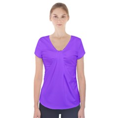 Bright Fluorescent Day glo Purple Neon Short Sleeve Front Detail Top