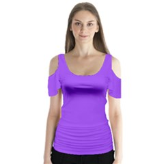 Bright Fluorescent Day glo Purple Neon Butterfly Sleeve Cutout Tee
