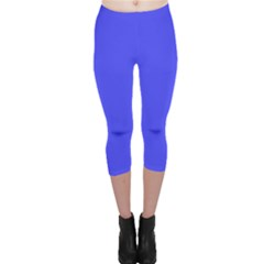 Bright Electric Fluorescent Blue Neon Capri Leggings