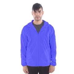 Bright Electric Fluorescent Blue Neon Hooded Wind Breaker (Men)