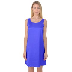 Bright Electric Fluorescent Blue Neon Sleeveless Satin Nightdress