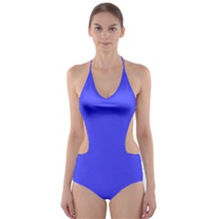 Bright Electric Fluorescent Blue Neon Cut-Out One Piece Swimsuit