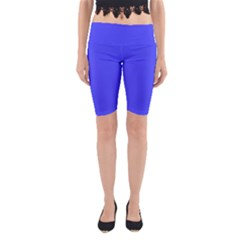 Bright Electric Fluorescent Blue Neon Yoga Cropped Leggings