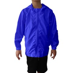 Bright Electric Fluorescent Blue Neon Hooded Wind Breaker (Kids)
