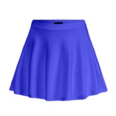 Bright Electric Fluorescent Blue Neon Mini Flare Skirt