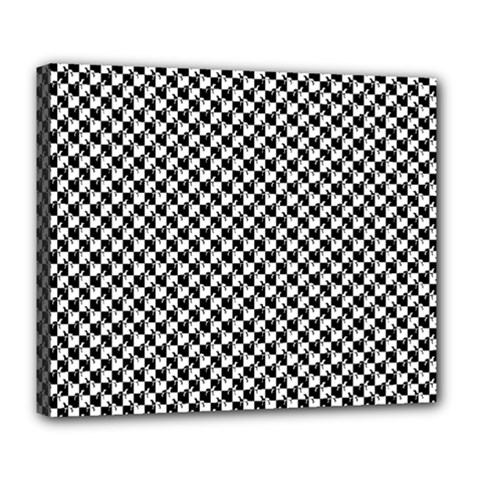 Black and White Checkerboard Weimaraner Deluxe Canvas 24  x 20