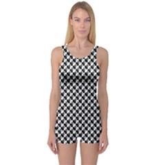 Black And White Checkerboard Weimaraner One Piece Boyleg Swimsuit
