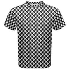 Black and White Checkerboard Weimaraner Men s Cotton Tee