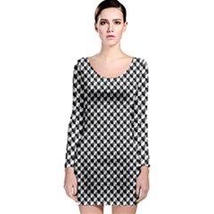 Black and White Checkerboard Weimaraner Long Sleeve Bodycon Dress