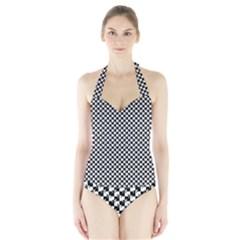Black and White Checkerboard Weimaraner Halter Swimsuit