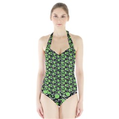 Roses pattern Halter Swimsuit