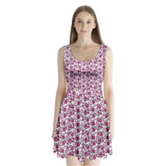Roses pattern Split Back Mini Dress