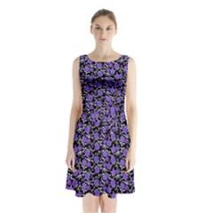Roses pattern Sleeveless Waist Tie Chiffon Dress