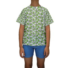 Roses pattern Kids  Short Sleeve Swimwear