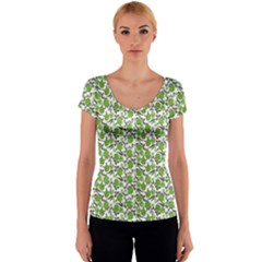 Roses pattern Women s V-Neck Cap Sleeve Top