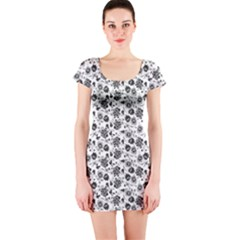 Roses pattern Short Sleeve Bodycon Dress