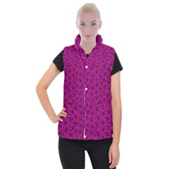 Roses pattern Women s Button Up Puffer Vest