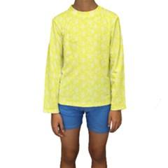 Roses pattern Kids  Long Sleeve Swimwear