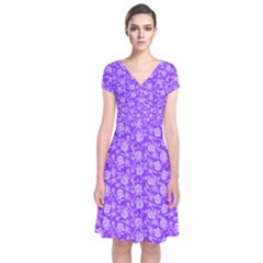 Roses pattern Short Sleeve Front Wrap Dress