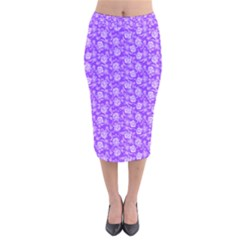 Roses pattern Velvet Midi Pencil Skirt
