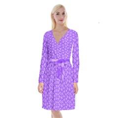 Roses pattern Long Sleeve Velvet Front Wrap Dress