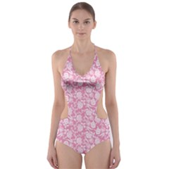 Roses pattern Cut-Out One Piece Swimsuit