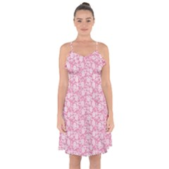 Roses pattern Ruffle Detail Chiffon Dress