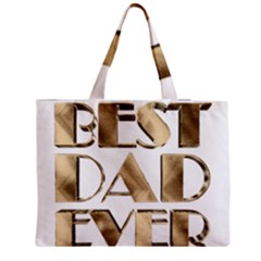 Best Dad Ever Gold Look Elegant Typography Medium Zipper Tote Bag
